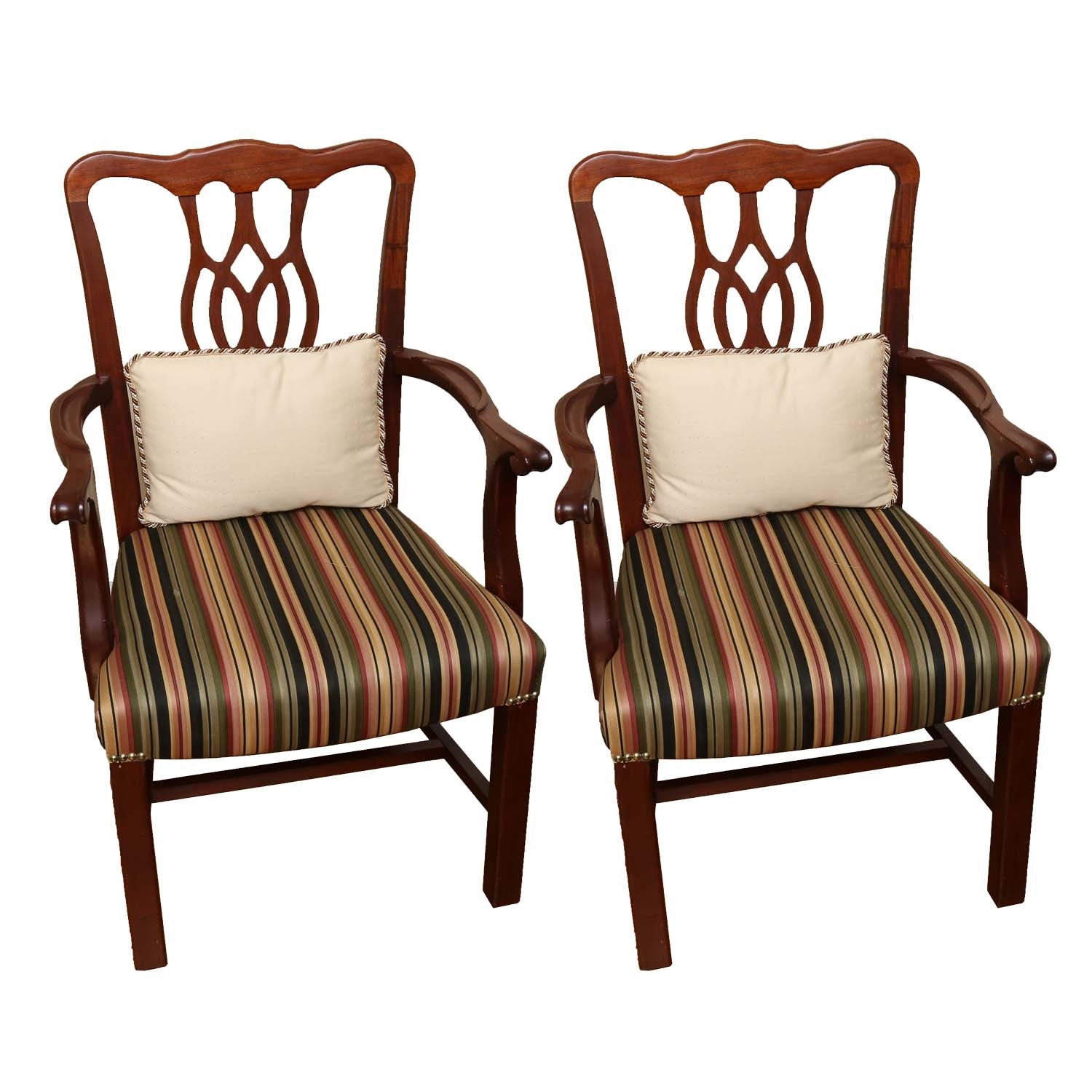 Oversized Striped Accent Chair EBTH