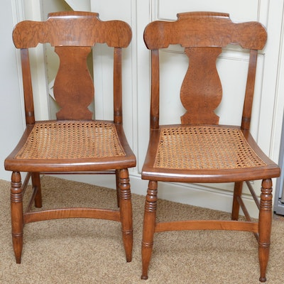 Pair of Vintage Maple Chairs with Cane Seating - Vintage Chairs, Antique Chairs And Retro Chairs Auction In