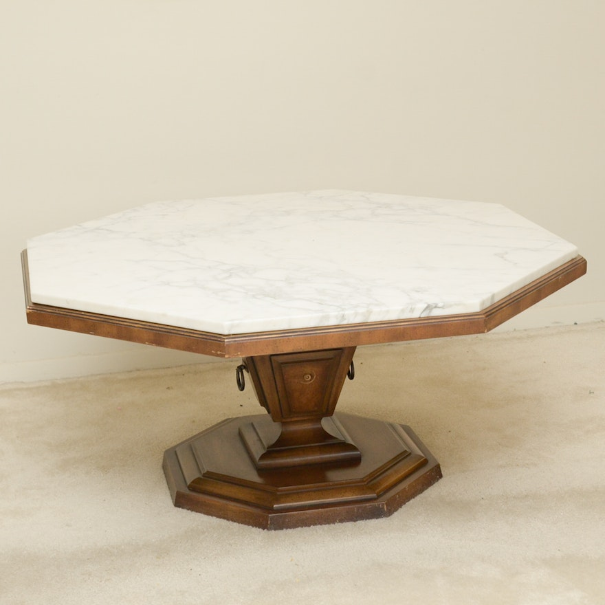 Mirrored Octagon Coffee Table: Weiman Octagon Coffee Table With Marble Top : EBTH