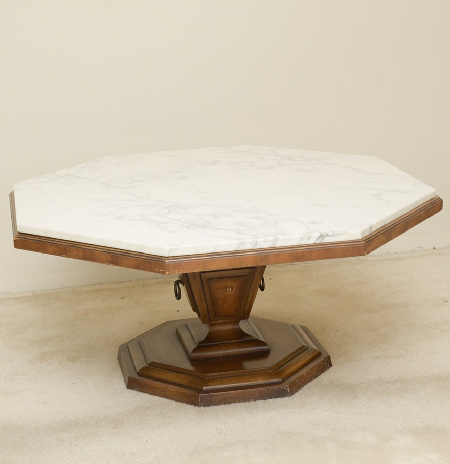Weiman Octagon Coffee Table With Marble Top Ebth