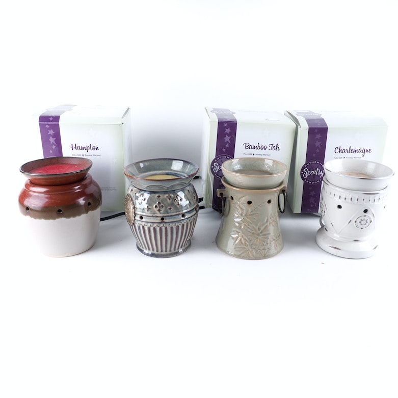 Electric Scented Wax Warmers ~ Four holiday decorative scentsy electric ceramic scented