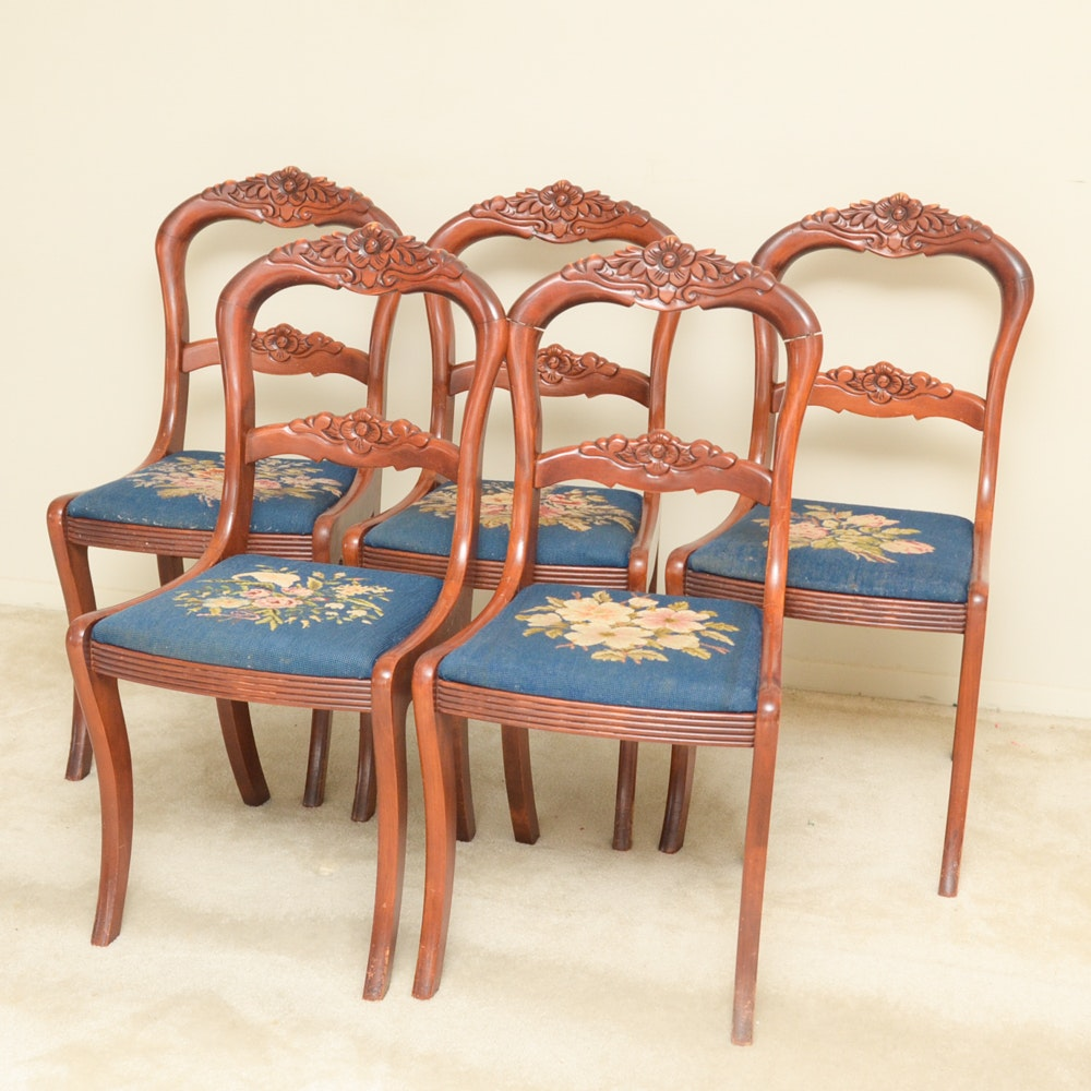 Carved Victorian Style Needlepoint Chairs