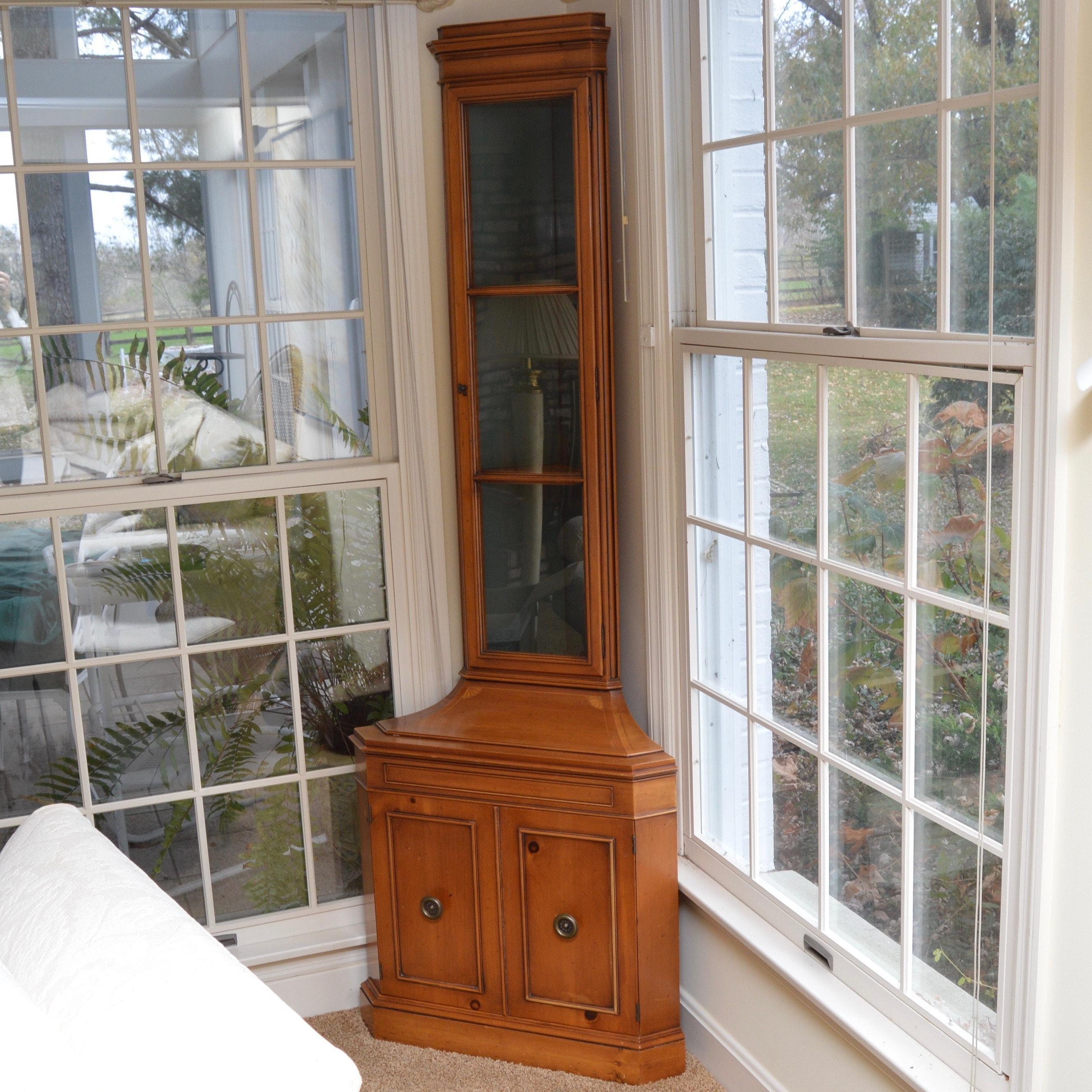 Vintage Pine Corner Curio Cabinet