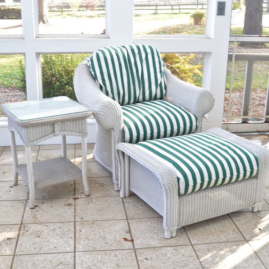 Wicker Patio Chair Ottoman And Side Table By Lloyd Flanders Ebth