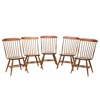Six vintage maple windsor style brace back chairs ebth for S bent dining room furniture