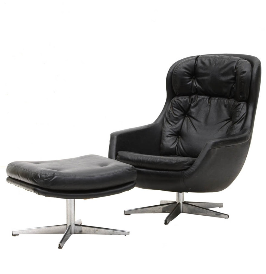 Selig chair and ottoman - Selig Black Leather Swivel Chair With Ottoman