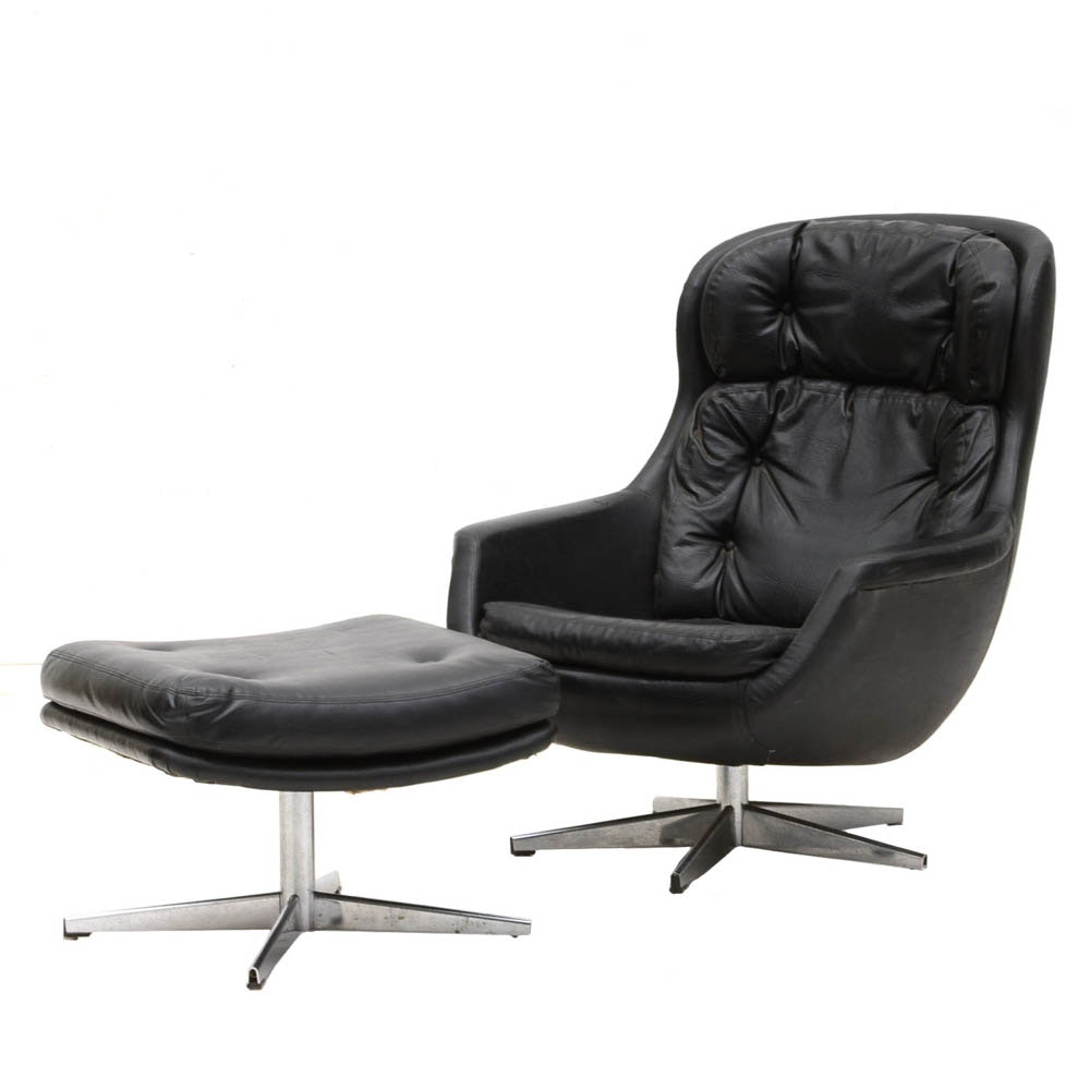 Selig Black Leather Swivel Chair With Ottoman ...