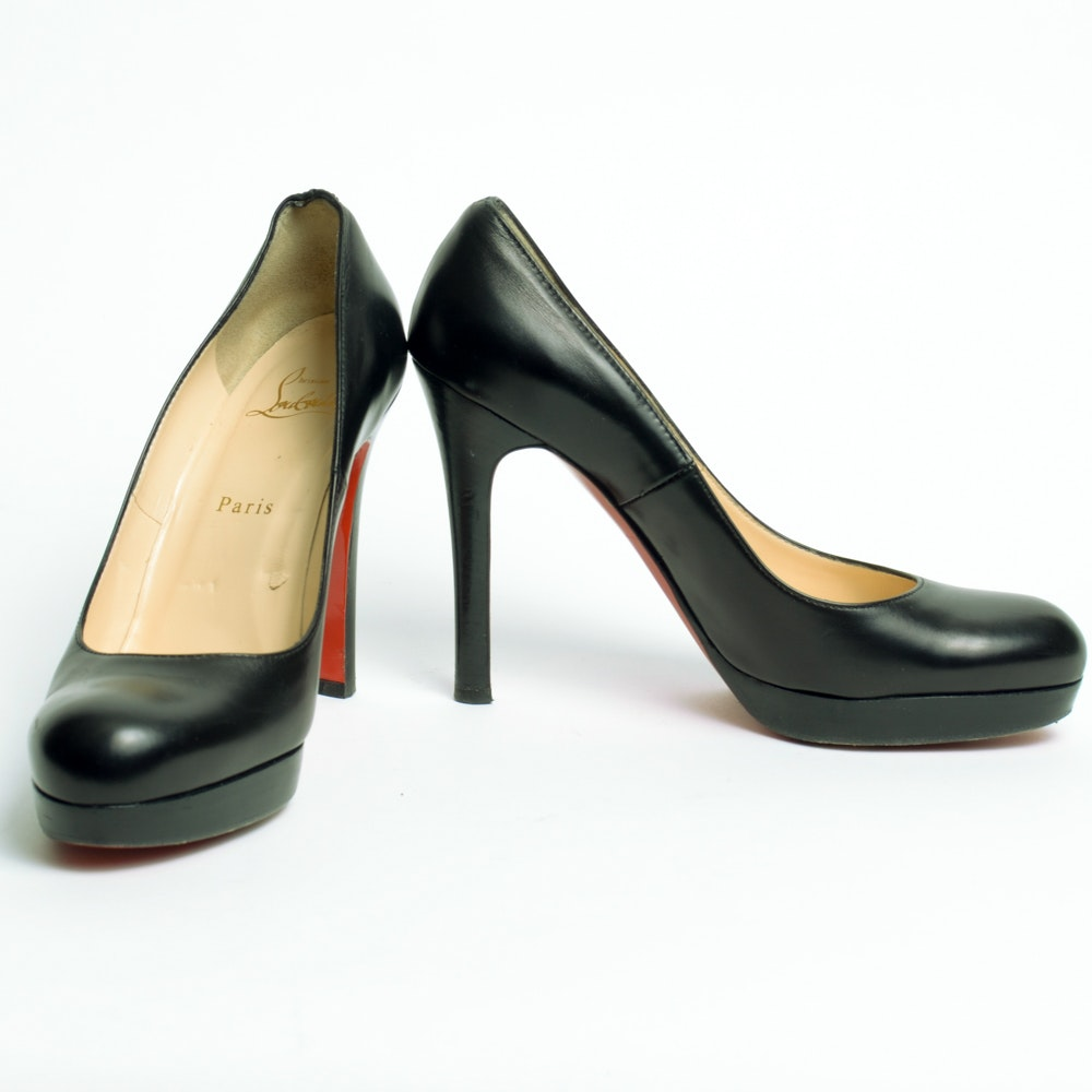 Pair of Christian Louboutin Black Leather Pumps