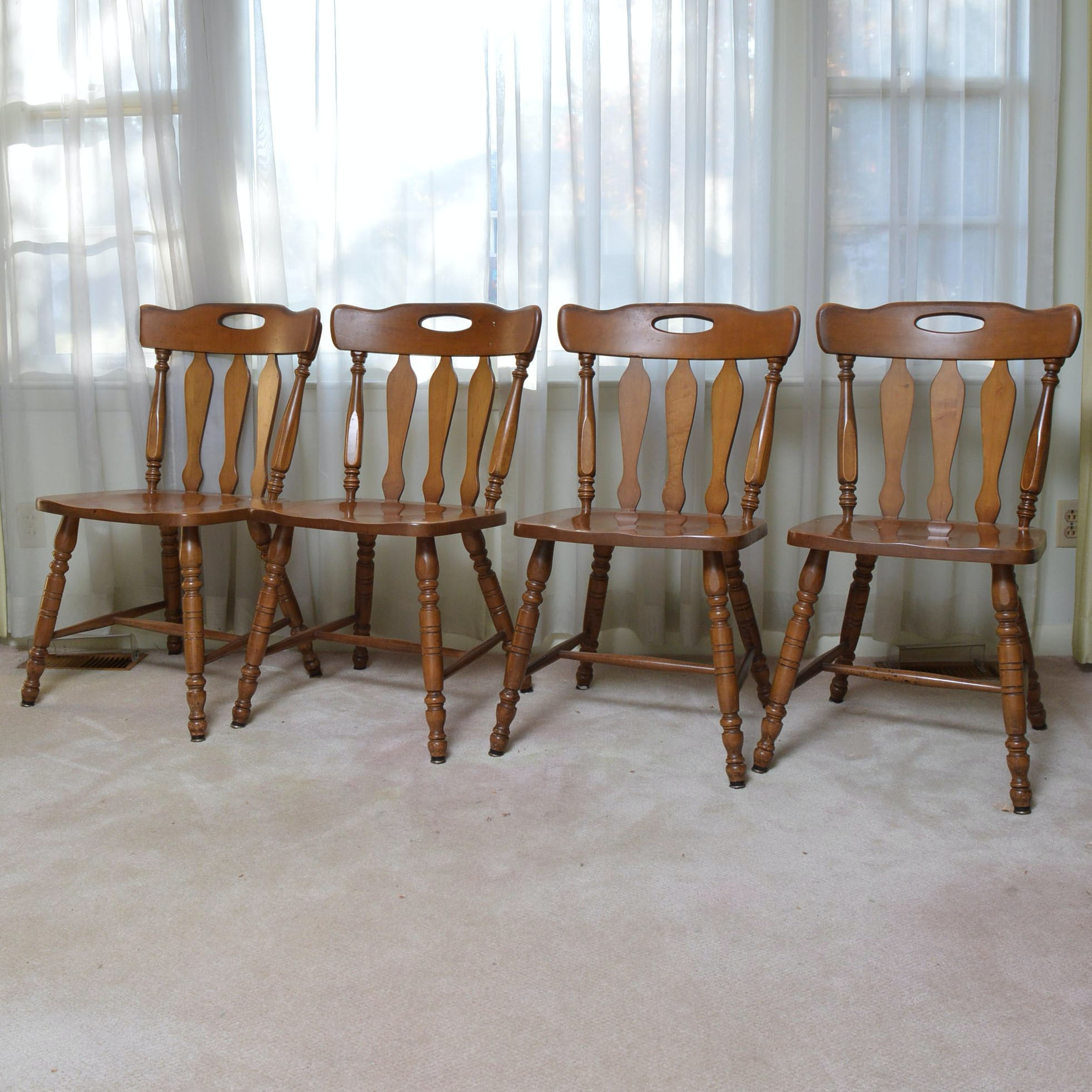 Maple Kitchen Table With Chair And Bench Ebth: Antique St. John's Table Company Maple Chairs : EBTH