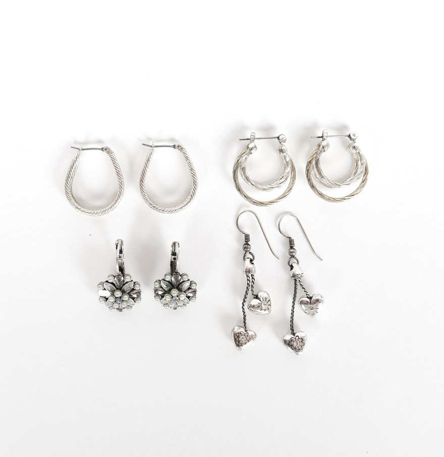 Collection Of Silver Toned Costume Earrings