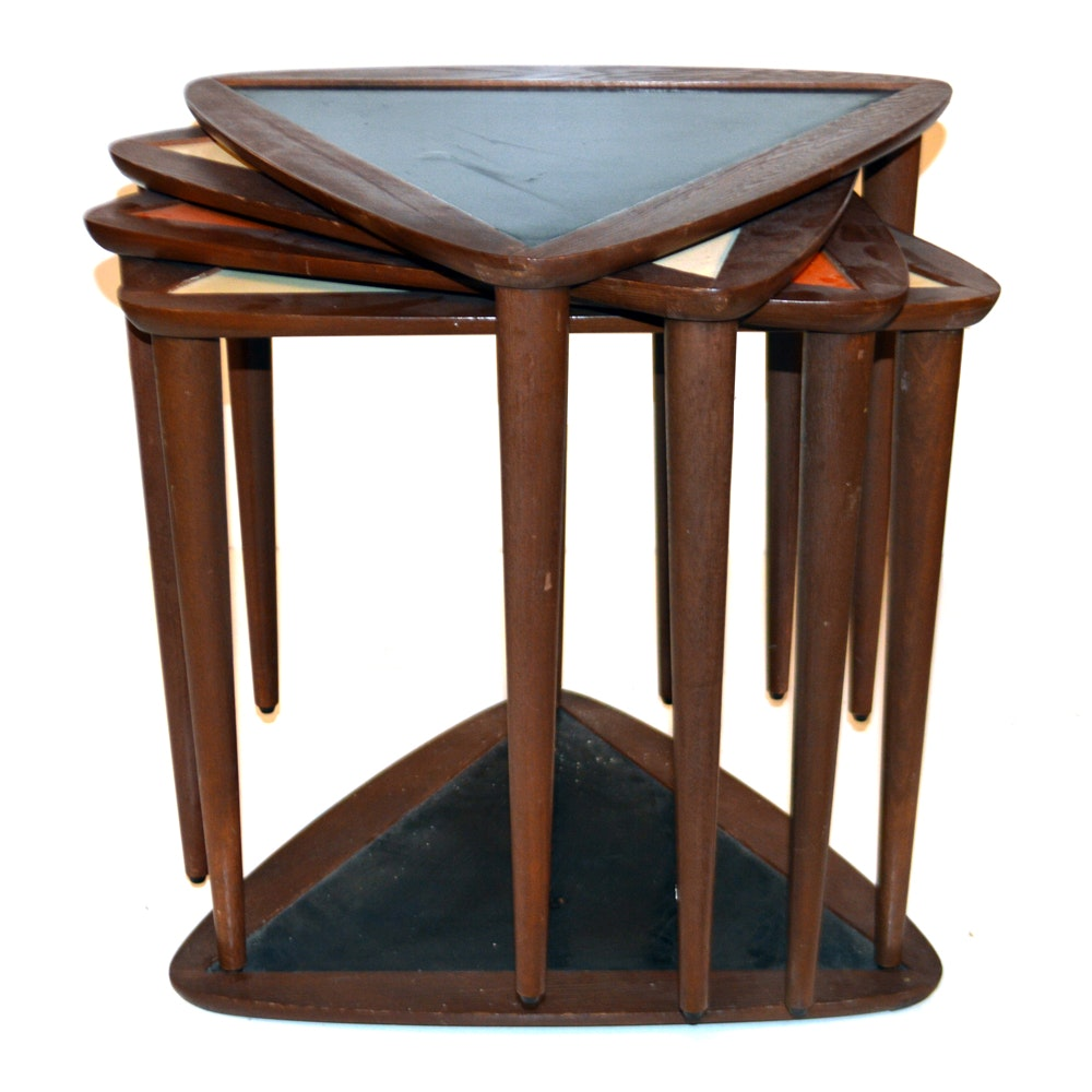 Superbe Mid Century Triangular Nesting Tables ...