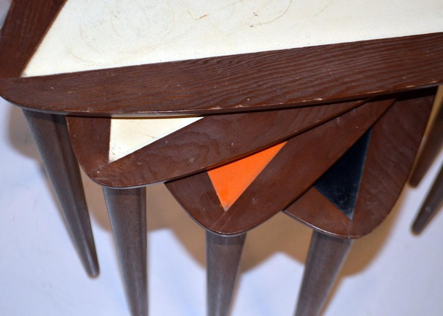 Mid Century Triangular Nesting Tables Ebth