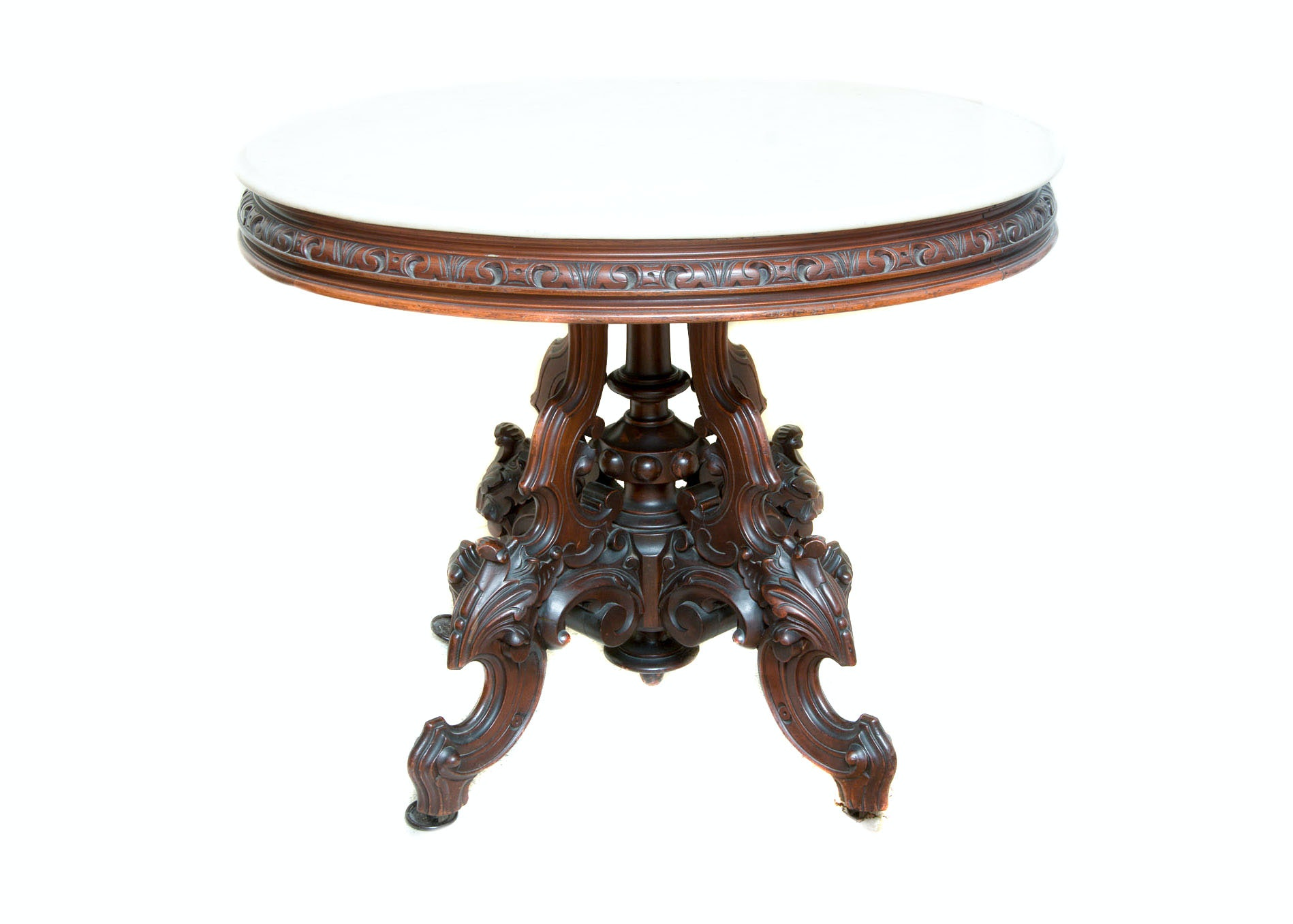 Victorian Style  Occasional Table With Marble Top