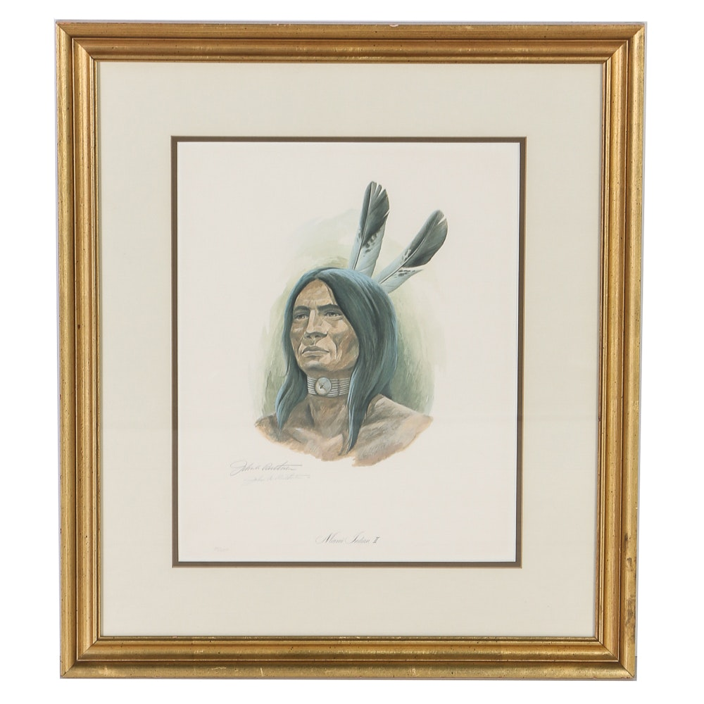"John A. Ruthven Limited Edition Lithograph ""Miami Indian II"""