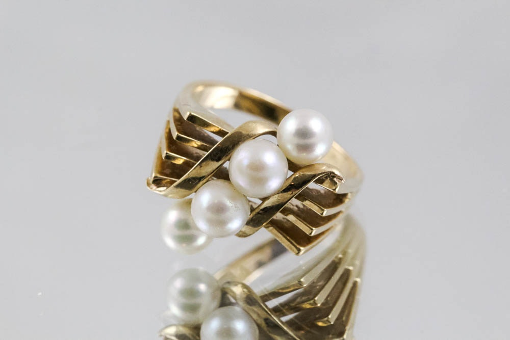 14k yellow gold cultured pearl ring ebth