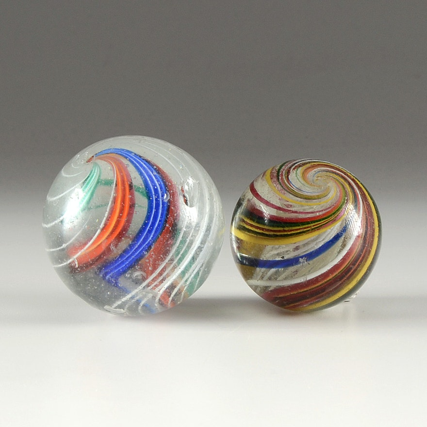 Vintage Large Swirl Marbles Ebth