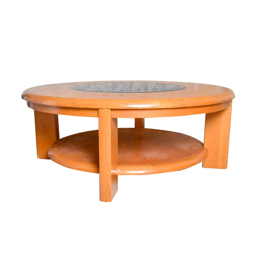 Oak And Glass Coffee Table Ebth