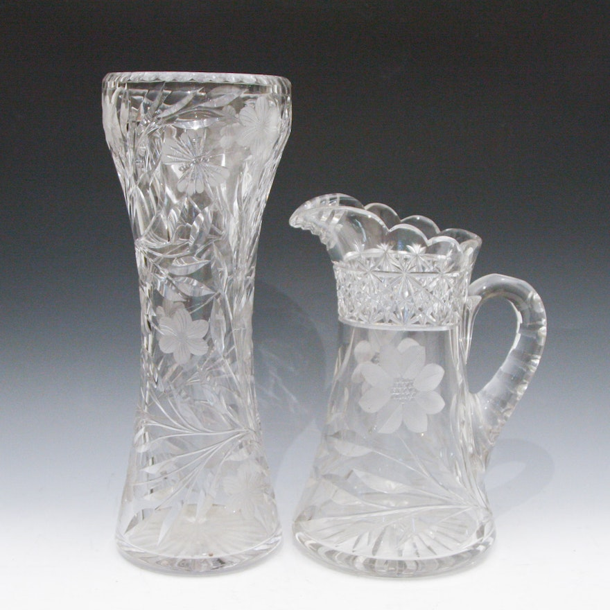American Brilliant Cut Crystal Pitcher And Vase Ebth