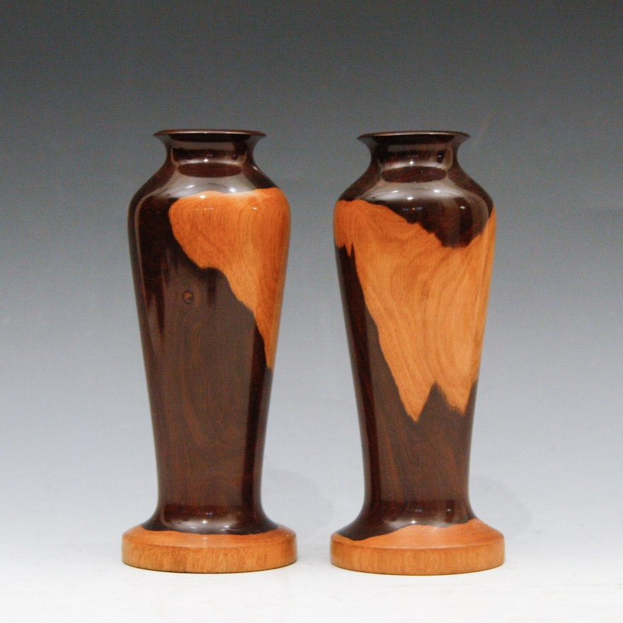 Pair Of Cuban Turned Wood Vases Ebth