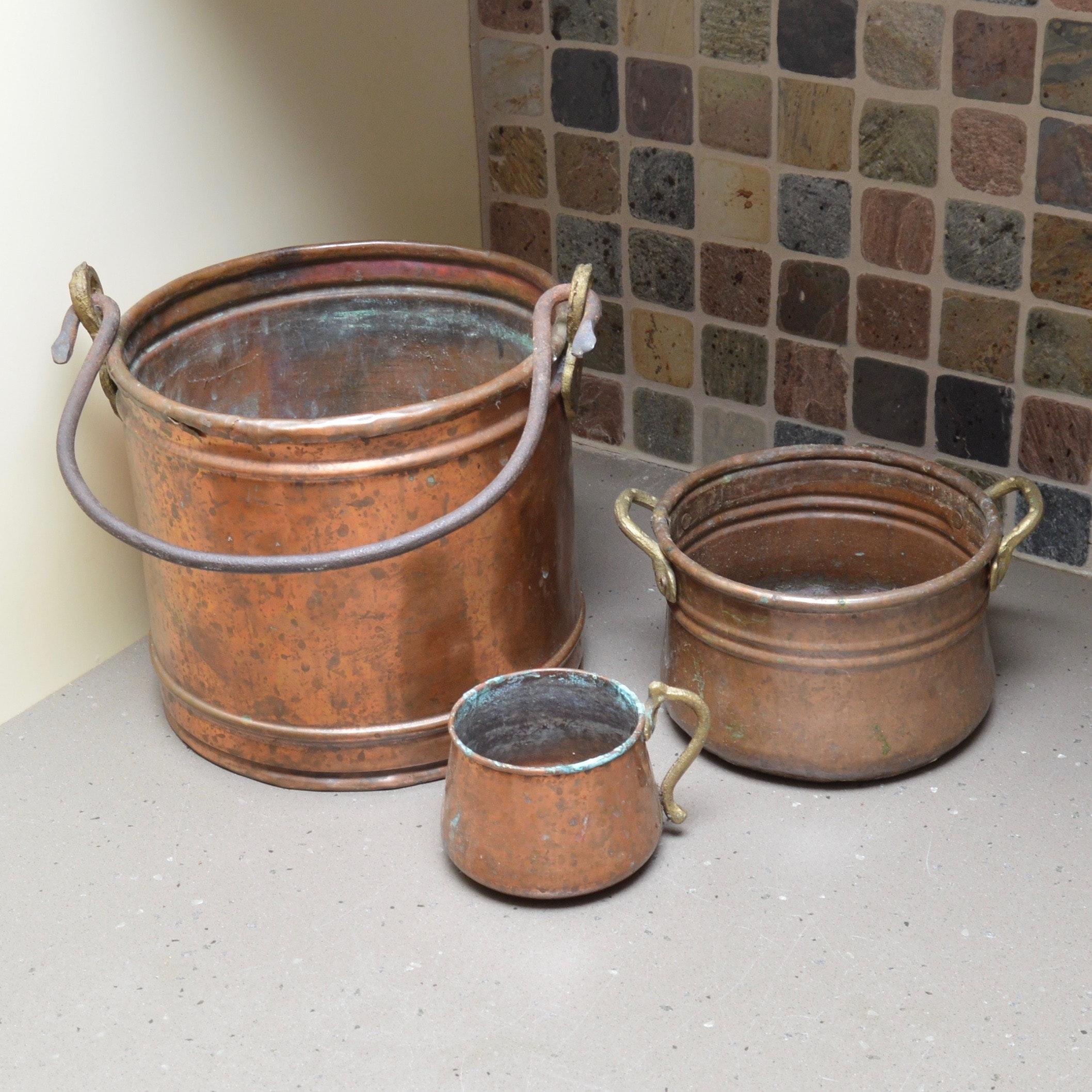 Set of Vintage Copper Pots