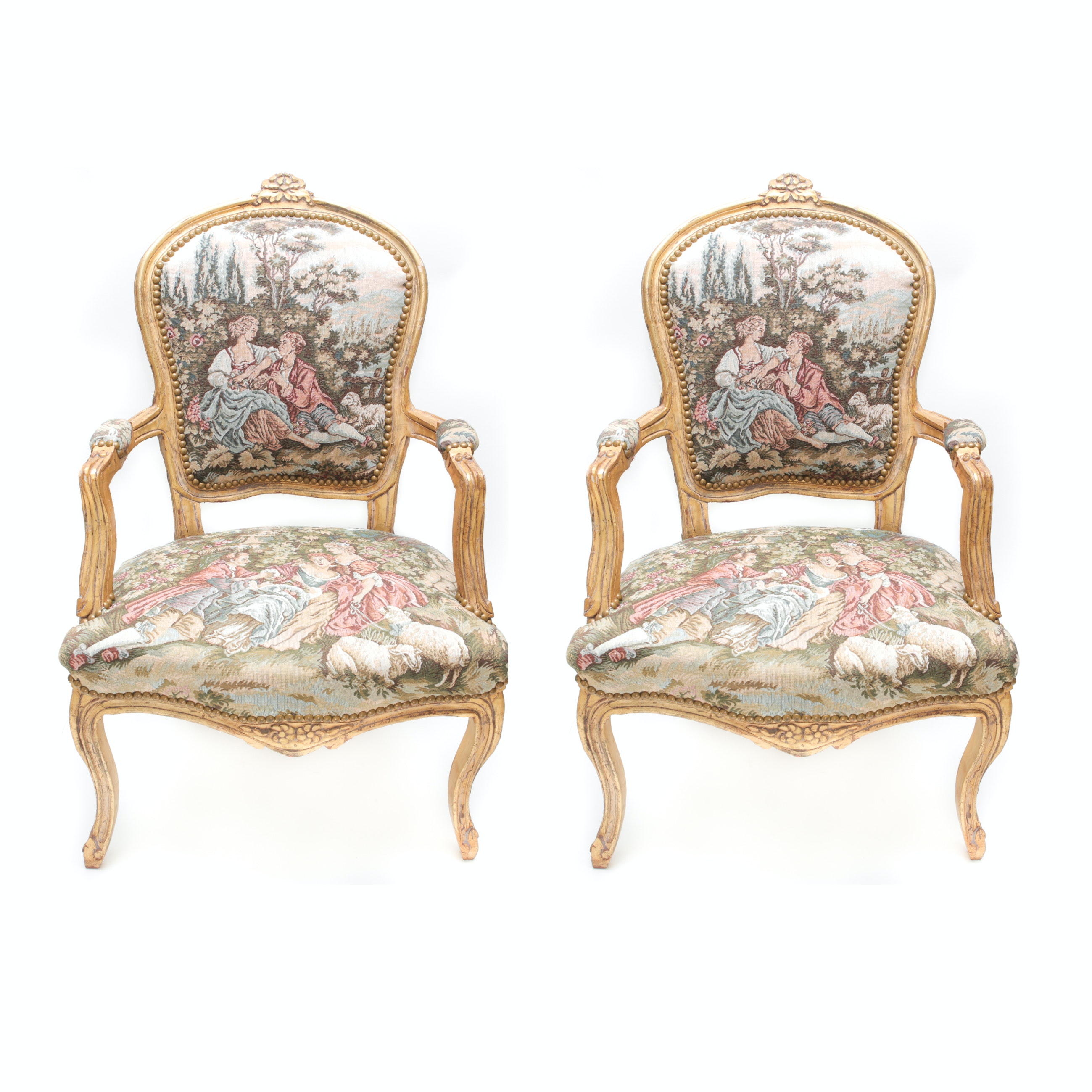 Pair Of Louis Xv Style Needlepoint Chairs Ebth