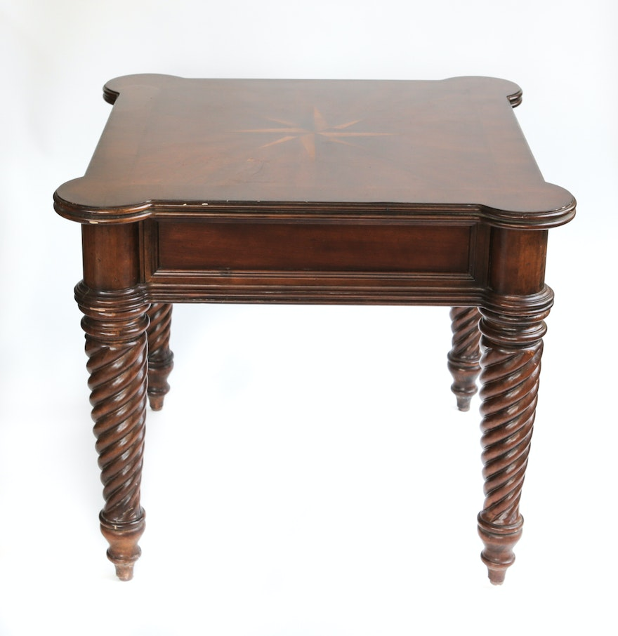 early colonial style end table with inlay ebth. Black Bedroom Furniture Sets. Home Design Ideas