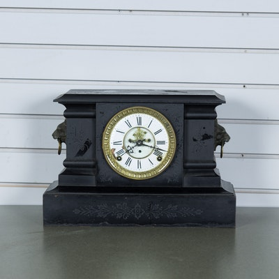 "Antique F. Kroeber Clock Co. ""Bothnia"" Cast Iron Mantel Clock"