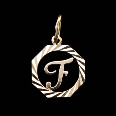 Vintage designer pendants online vintage pendant auction in fine milor 18k yellow gold f monogrammed pendant aloadofball Images