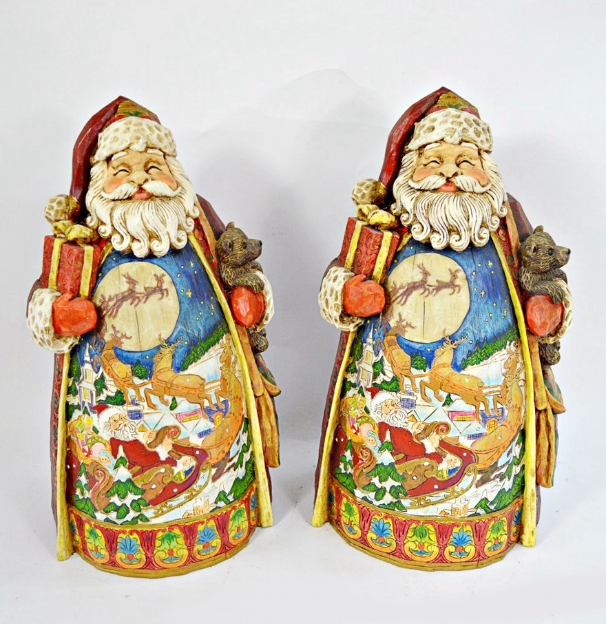 Two collectible father christmas figurines ebth