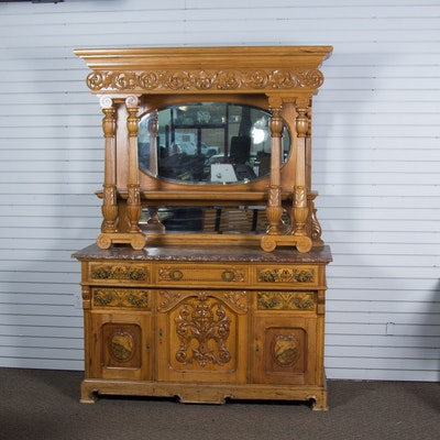 Vintage Marble Top Hutch with Mirrors