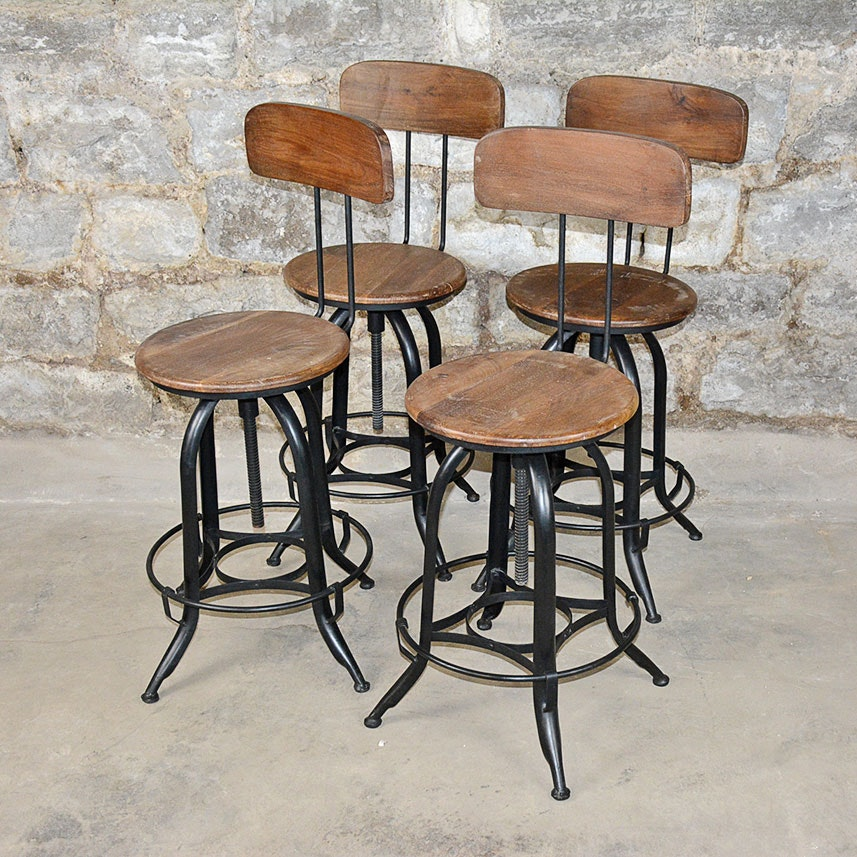 Vintage Adjustable Wood And Metal Bar Stools Ebth