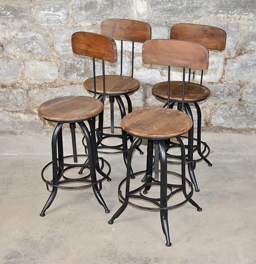 Vintage Adjustable Wood And Metal Bar Stools Ebth