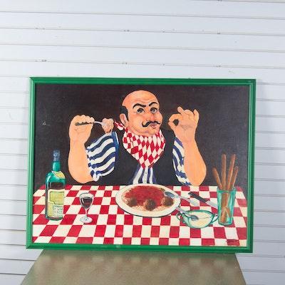 W. Hinton III Italian Food Themed Painting on Canvas