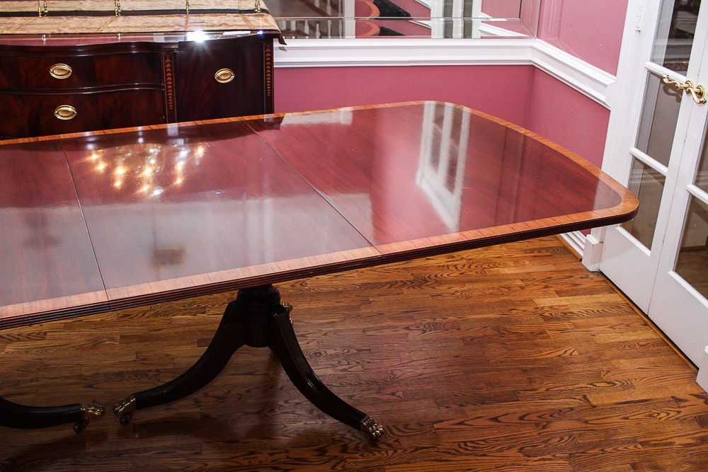 Duncan Phyfe Style Mahogany Dining Table By Ethan Allen Ebth