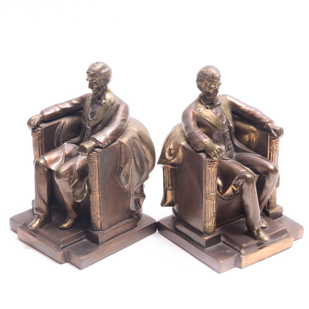Pair of Abraham Lincoln Figure Metal Bookends