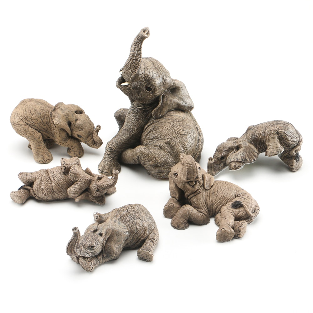 Collection of The Herd Elephant Figurines by Martha Carey EBTH