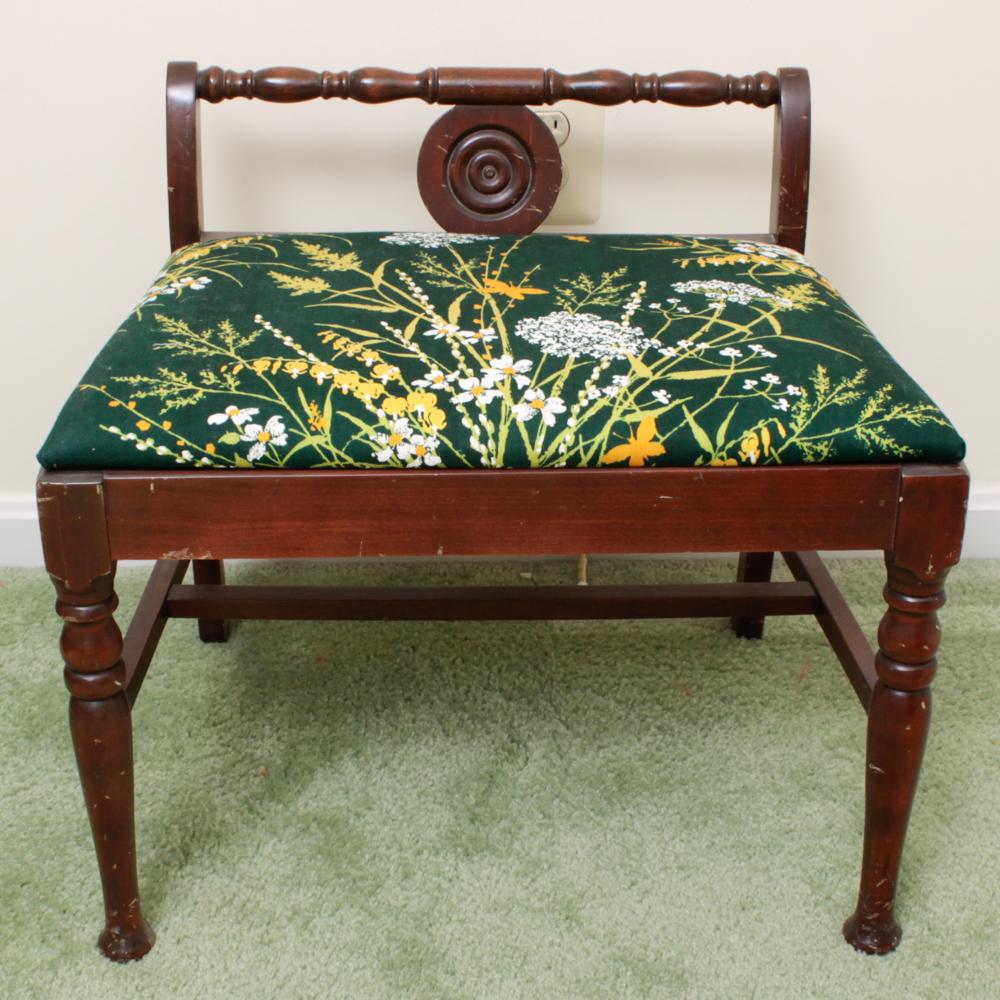 low back vanity chair  Vintage Low Back Wood Vanity Chair : EBTH
