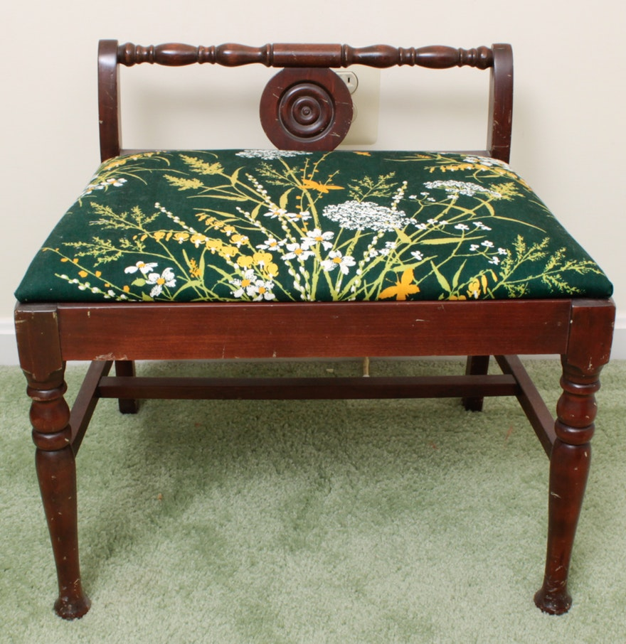 Vintage Low Back Wood Vanity Chair  Vintage Low Back Wood Vanity Chair   EBTH. Low Back Vanity Chair. Home Design Ideas