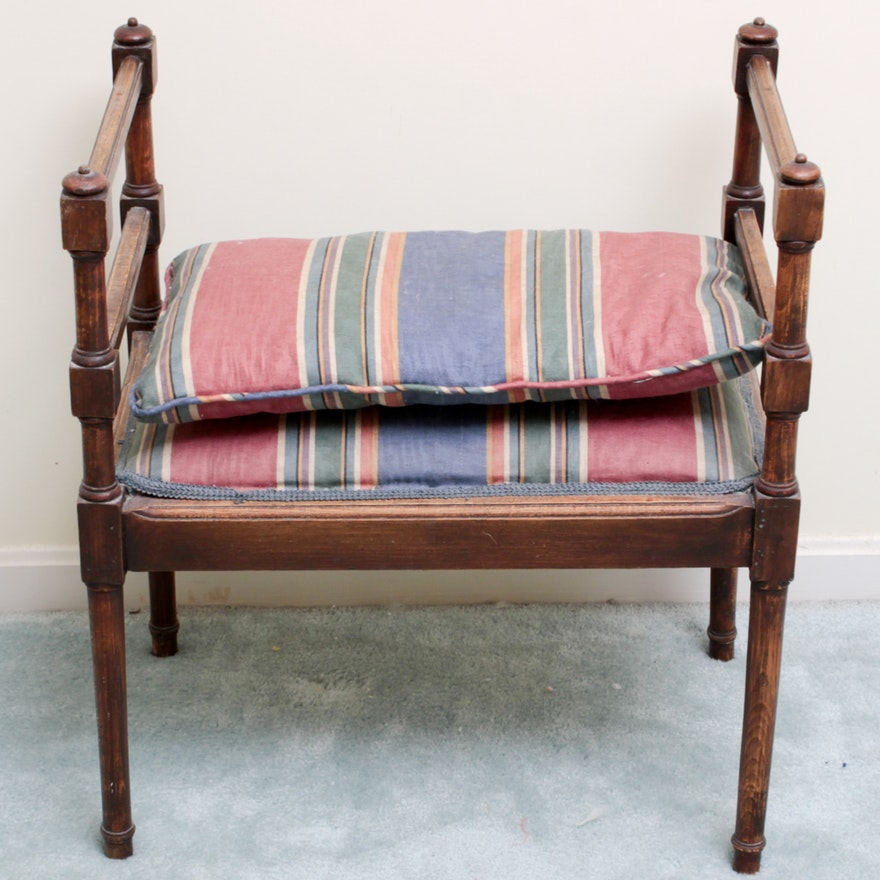 Antique Vanity Bench with Stripe Cushion Seat ... - Antique Vanity Bench With Stripe Cushion Seat : EBTH