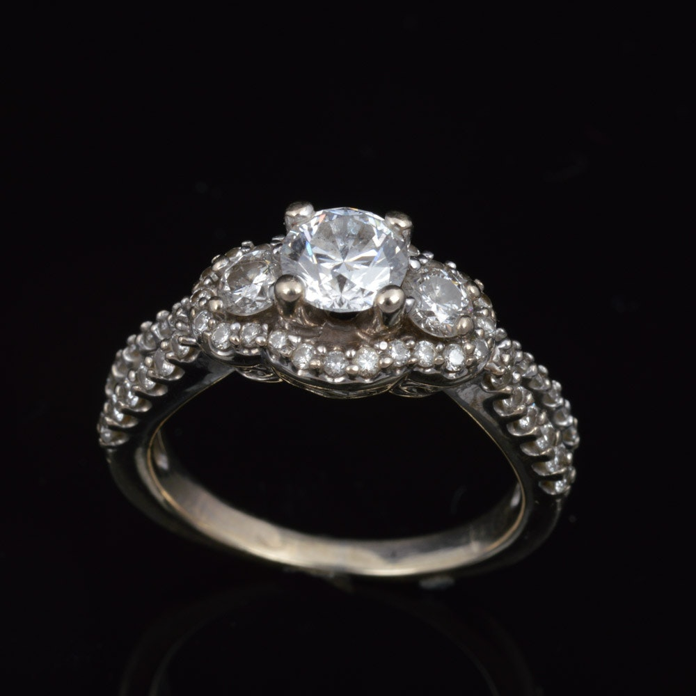 14K White Gold 1.39 CTW Diamond Ring