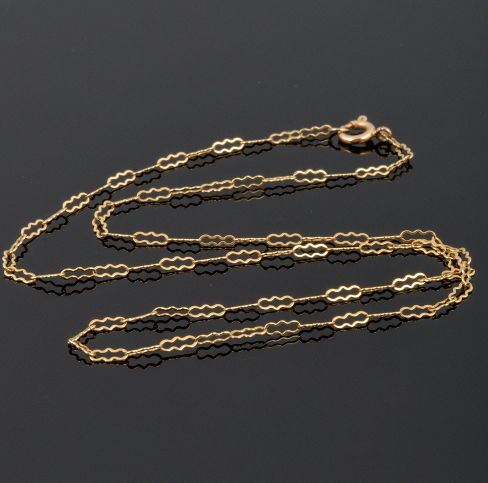 14K Yellow Gold Ornate Link Necklace