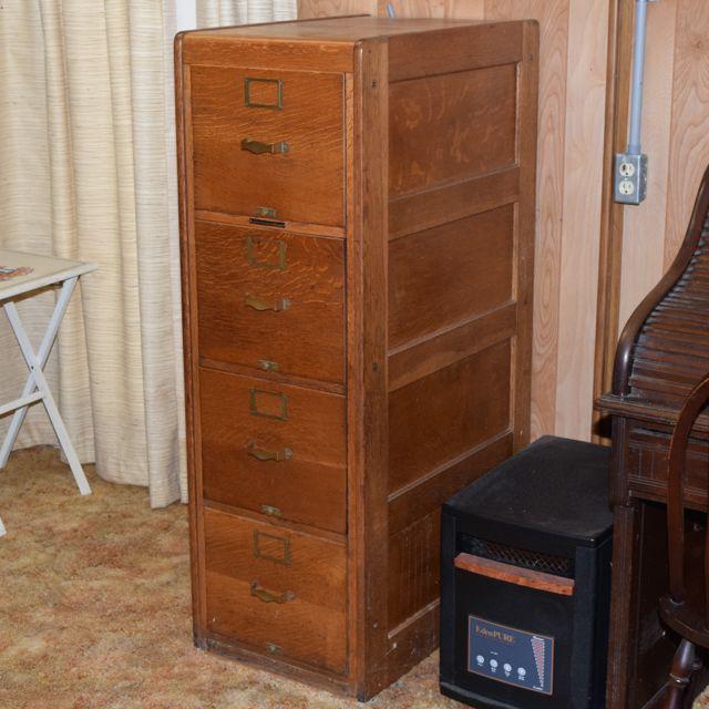 Antique Library Bureau Sole Maker Tiger Oak Filing Cabinet : EBTH