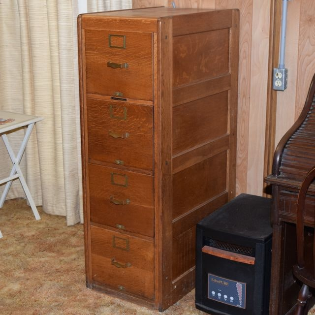 Antique Library Bureau Sole Maker Tiger Oak Filing Cabinet ...
