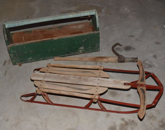 Vintage Wooden Sled, Cant Hook and Toolbox