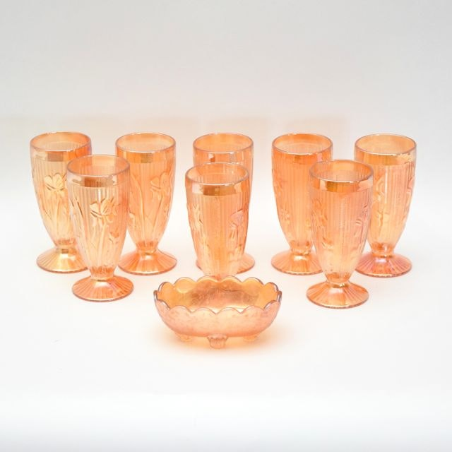 "Jeanette's ""Iris and Herringbone"" Marigold Glass Goblets and Carnival Glass Dish"