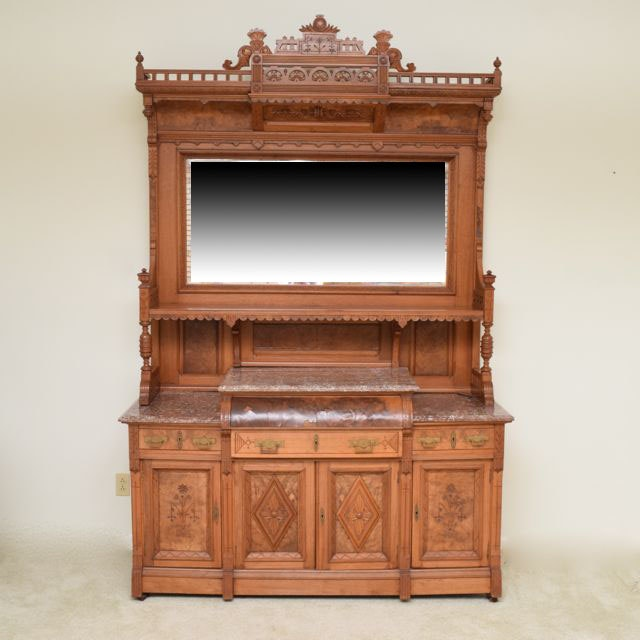 Antique American Eastlake Walnut  Sideboard