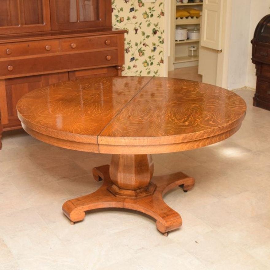 Antique Tiger Oak Dining Table Ebth