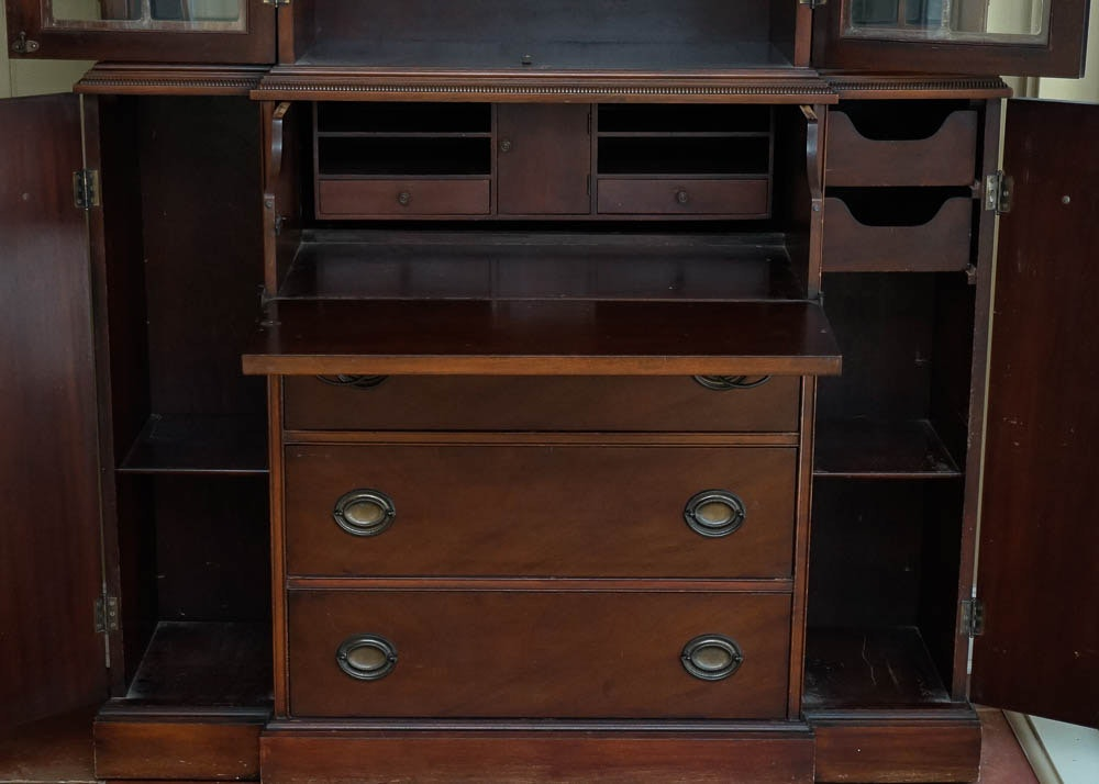 kitchen cabinets and drawers federal style mahogany breakfront bookcase ebth 20030