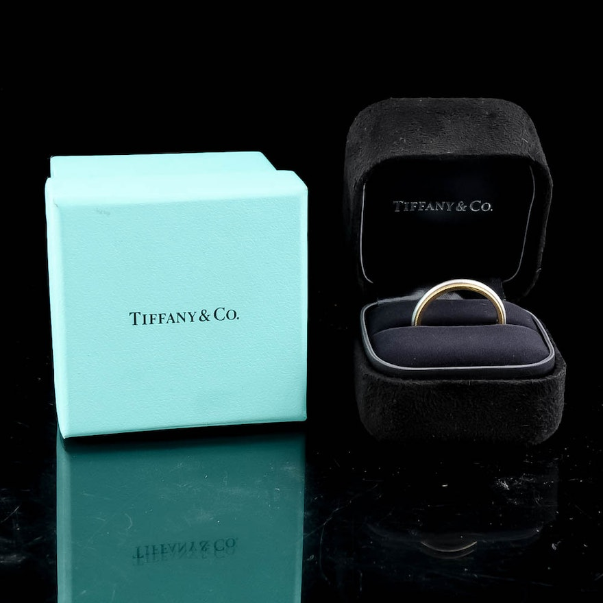 18k Yellow Gold And Platinum Tiffany Co Men S Wedding Band Ring