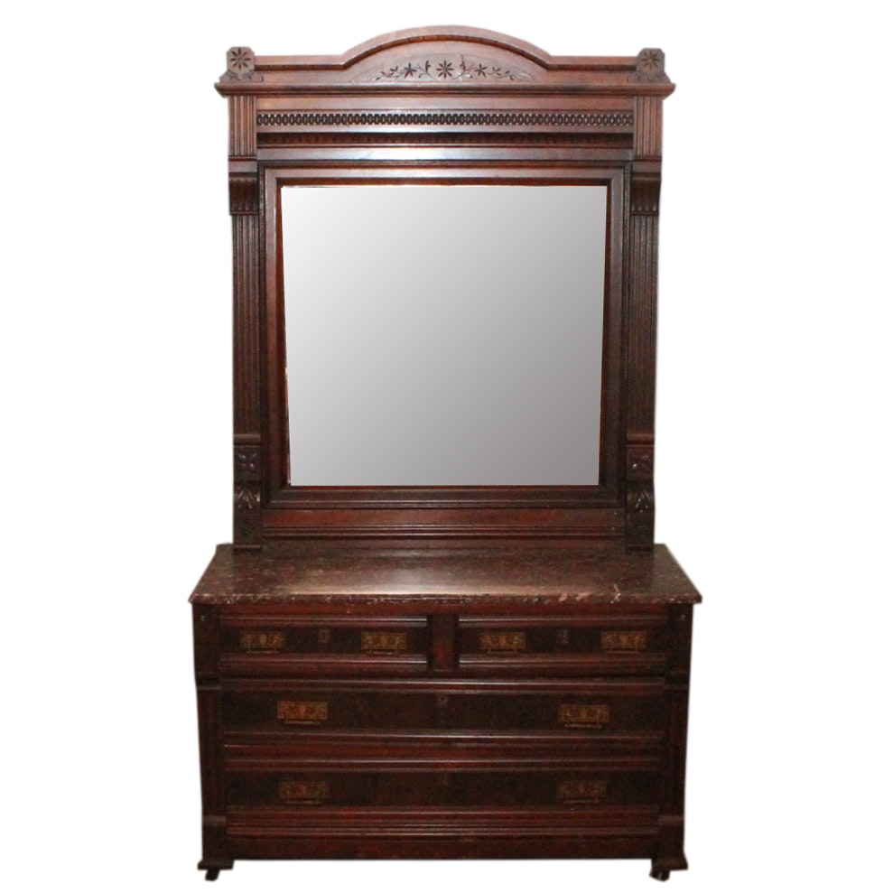 German Marble Top Mahogany Chest Of Drawers With Mirror Ebth